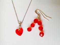 Parure boucles d'oreilles et pendentif avec la chaîne argent et cristal swarovski elements rouge SIAM : Parure par myliaboutique