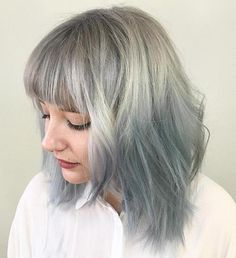 Gray To Pastel Blue Ombre Hair