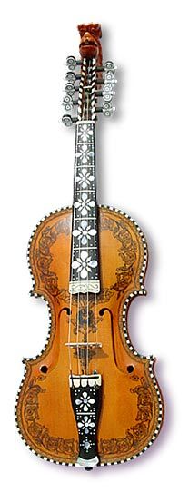 "This is a Hardingfele or ""Hardanger Fiddle"". It was developed in Norway, where its use is still quite popular. It has 12 strings, and requires much more practice to master than a normal violin. Each Hardingfele is adorned with paintings and engravings specific to the region in which it was made."