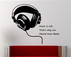 Music Wall Decal Sticker Art Decor Bedroom Design Mural Headphones Music is life quote by StateOfTheWall on Etsy https://www.etsy.com/listing/218722174/music-wall-decal-sticker-art-decor