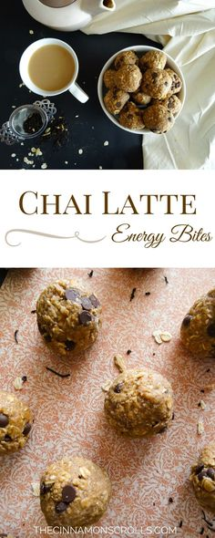 These energy bites are great for a mid-afternoon pick-me-up with a cuppa, or after a work out when you need that boost of healthy fats and protein. They contain protein powder, rolled oats, a little bit of coconut oil, and almond milk, so you get a burst of both groups. And they taste exactly like a chai latte! | thecinnamonscrolls.com @cinnamonscribe