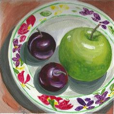 "Daily Paintworks - ""Apple and Plums"" by Azra Iqbal"