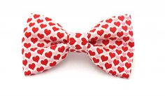 Men Red Hearts Valentines Day Clip on Bow Tie by amy2004marie