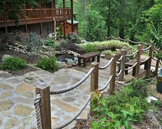 The Lodge at Tellico is a perfect setting for groups to enjoy the peaceful solitude of Tellico Plains. Rope Fence, Rope Railing, Deck Railings, Fence Ideas, Garden Ideas, Tellico Plains, Outside Pool, Caribbean Homes, Tennessee River