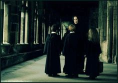 Severus with Harry, Ron and Hermione