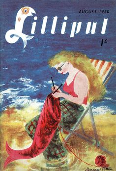 Lilliput Magazine, August 1950 - mermaid knitting