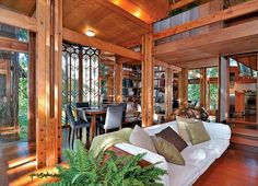 Wood, open air living room
