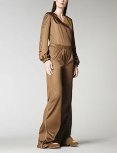 satin suit with leather inserts, tobacco - Max Mara
