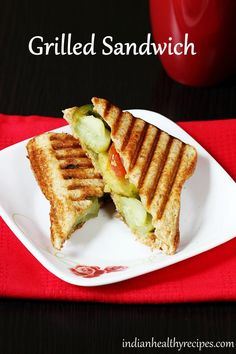 Veg grilled sandwich recipe - These delicious bombay grilled sandwich is one of our favorite at home and are made for a weekend snack or brunch. Grilled Sandwich Recipe, Vegetarian Sandwich Recipes, Veg Sandwich, Easy Sandwich Recipes, Delicious Sandwiches, Dog Food Recipes, Snack Recipes, Cooking Recipes, Vegetarian Meals