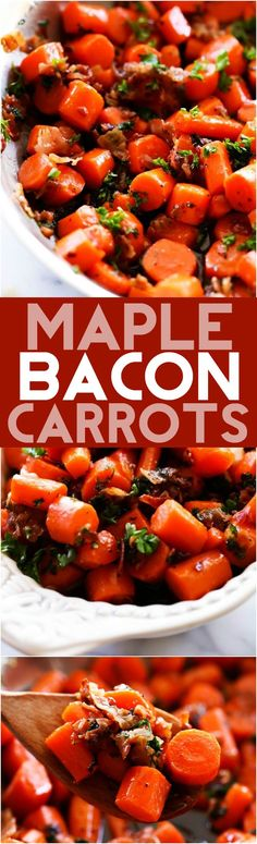 Maple Bacon Carrots... These carrots are packed with flavor! With a delicious maple bacon glaze, this carrots will be sure to be the biggest hit at the dinner table!