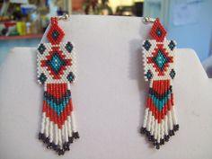 Native American Beaded Red  WhiteTurquoise by BeadedCreationsetc, $25.00