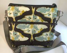 Moths~Mid-Size Shoulder Bag~Blue and Gray~Crossbody-MidiCrossbody BAG-Minimalist Bag~Pouch~Bags and Purses~Handbag-Shoulder Bag - Edit Listing - Etsy