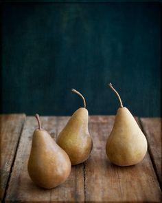 fruit, Kitchen Decor, pears, teal, grey, gift - Pears 8x10 Print - by Tina Crespo Philadelphia