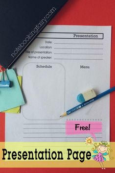 Free Presentation Pages from the Notebooking Fairy • use to take notes when listening to any lecture or presentation