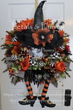 CUSTOM ORDERHalloween WreathThE WiCkEd WiTcH oF by PetalsnPlumes,