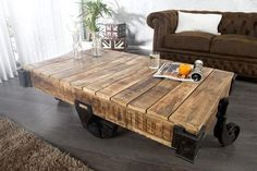 Industrial solid wood and metal living room table Harry Table basse industrielle en bois – Harry - Mobilier de Salon Coffee Table Stand, Solid Wood Coffee Table, Coffee Table Design, Table Transformable, Design Rustique, Elegant Home Decor, Glass Dining Table, Kare Design, Solid Wood Furniture