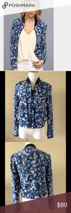 Rebecca Taylor silk bomber jacket Beautiful blue floral bomber jacket. Full zip with elastic cuffs and elastic waist. Side zippered pockets. 100% silk. Size 2 Rebecca Taylor Jackets & Coats