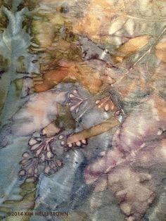 Shibori Dyed Silk Scarf Eco Print with Indigo by KimMeuliBrown