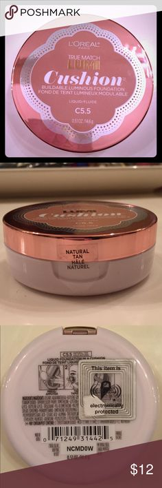 L'oreal Lumi Cushion Liquid Foundation Brand new and never used! Best for a tanned medium skin tone, in my opinion. L'oreal Makeup Foundation