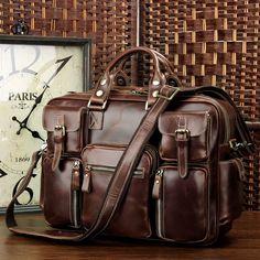 Image of VINTAGE HANDMADE ANTIQUE LEATHER TRAVEL BAG / TOTE /TRAVELLING BAG/ OVERNIGHT BAG L109