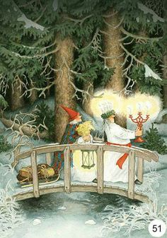 gnomes ' modern Rare new postcard by Inge Look Swedish Christmas, Scandinavian Christmas, Christmas Art, Old Lady Humor, Lady Memes, Illustration Noel, Sainte Lucie, Yule, Old Women