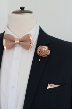 23812827a0d4 Mens copper bow tie supenders set, bronze bow tie for men,rose gold wedding  set, lapel flower genuine leahther bowtie boutonniere,prom, boys