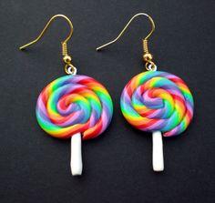 Rainbow Lolly Hanging Kawaii Earrings by KooKeeJewellery on Etsy Diy Clay Earrings, Cute Earrings, Weird Jewelry, Cute Jewelry, Jewlery, Polymer Clay Crafts, Polymer Clay Jewelry, Kawaii Jewelry, Accesorios Casual