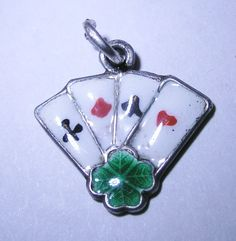 ANTIQUE DECO GERMAN SILVER & ENAMEL 'LUCKY'  ACES PLAYING CARDS w/ CLOVER CHARM~ charmingobjects