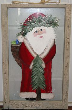 Old World Santa window Old World Christmas, Country Christmas, Christmas Holidays, Christmas Crafts, Christmas Decorations, Holiday Decor, Father Christmas, Old Windows Painted, Santa Pictures