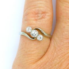 Art Deco Diamond engagement ring Antique Platinum 18ct white gold Collet 3 stone bypass crossover Vintage English 1920s Anniversary ring by vintagejewelbox on Etsy