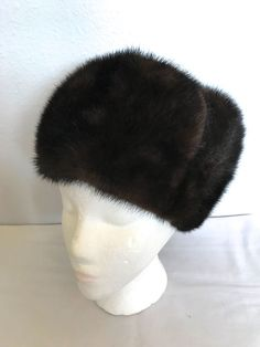 Unisex Vintage Mahogany Brown Mink Winter Fur Hat-Folded Trapper Hat-Bomber  Hat   d44a10fd3589