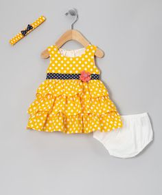 Take a look at this Yellow Polka Dot Floral Ruffle Dress Set - Infant by the Mini Sissy on #zulily today!