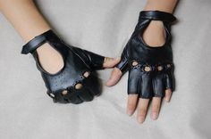 Fashion Womens Fingerless Driving Motorcycle Rock Punk Party Dancer Black Gloves