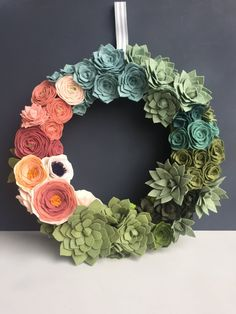 "custom order felt flower & succulent 14"" wreath by shopgoldenafternoon"