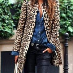 Women Leopard Sexy Winter Warm New Wind Coat Cardigan Leopard Print Fashion Casual Long Coat Plus Size Clothing Coat Look Fashion, Winter Fashion, Fashion Outfits, Womens Fashion, Fashion Design, Fashion 2016, Fashion Teens, Fashion Coat, Petite Fashion