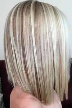 Medium length straight blonde bob