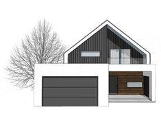Elewacja frontowa projektu FX-24 Scandinavian Architecture, Modern Architecture House, Scandinavian Home, Architecture Design, Chinese Architecture, Futuristic Architecture, Dream Home Design, Small House Design, Modern House Design