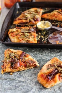 Carmelized Onion Vegan Naan Pizza - On this weeks FREE vegan meal plan! . . . . . plant-based [ plant based ] plant-based recipes [ plant based recipes ] plant-based meal plan [ plant based meal plan ] vegan recipes ] vegan meal plan [ vegan meal-plan