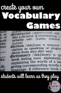 Create your own vocabulary games for students to help them learn as they play. Here's five games that can be played individually or in groups.