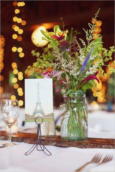 wildflower and mason jar centerpiece #masonjar #diy #weddingchicks http://www.weddingchicks.com/2014/03/04/take-your-time-wedding/