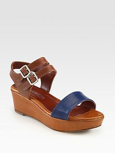 Aquatalia by Marvin K Kim Leather Wedge Sandals
