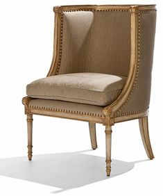 Rousseau Chair by Ebanista - Hand-caved occasional chair in glazed bisque finish with antiqued gold detailing and antiqued gold nailhead trim. Handcrafted in the USA. http://ebanista.com.