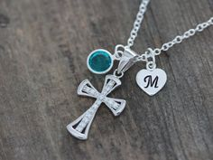 Sterling silver Cross Necklace, Sterling Silver Cubic Zirconia Cross, Personalized Initial and Birthstone, Girl Cross Gift, girls Jewelry on Etsy, $31.80