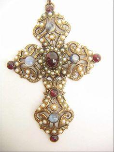 Vintage Austro Hungarian or French Moonstone Garnet Pearl large cross stunning #ArtDeco