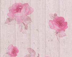 AS Creation Wood Beam Panel Flower Pattern Faux Effect Floral Wallpaper (Pink Beige Wood Beams, Wood Paneling, Thing 1, Pink Beige, New England, Flower Patterns, New Homes, Wallpaper, Floral