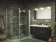 Skagen J är en spännande duschlösning med det lilla extra. Installeras dubbla takduschar får du en extra lyxig känsla. Skagen J passar utmärkt i utrymmet där ett badkar har varit placerat. Skagen, Home Renovation, Double Vanity, Indoor, House Design, Mirror, Bathroom, Inspiration, Furniture