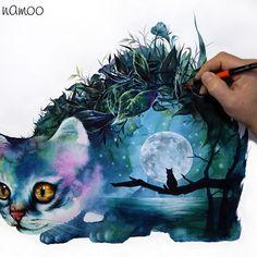 달을 품은 고양이  #고양이 #달 #품다 #냥스타그램 #animal #artwork #illustration #illustrator #드로잉 #그림 #수채화 #drawing #picture #painting #cat #pretty #sketch #watercolor #리얼리티 #몽환적인 #캣 #moon