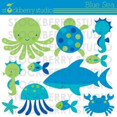 Blue Sea Personal and Commercial Use Vector Clipart Set - Instant Download