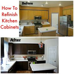 How to refinish your kitchen cabinets for less. This How to on refinishing kitchen cabinets was one that I was able to do on my own without having any experience on DIY projects. The results were amazing!
