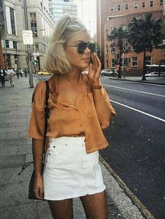 White mini skirt with brown top - LadyStyle